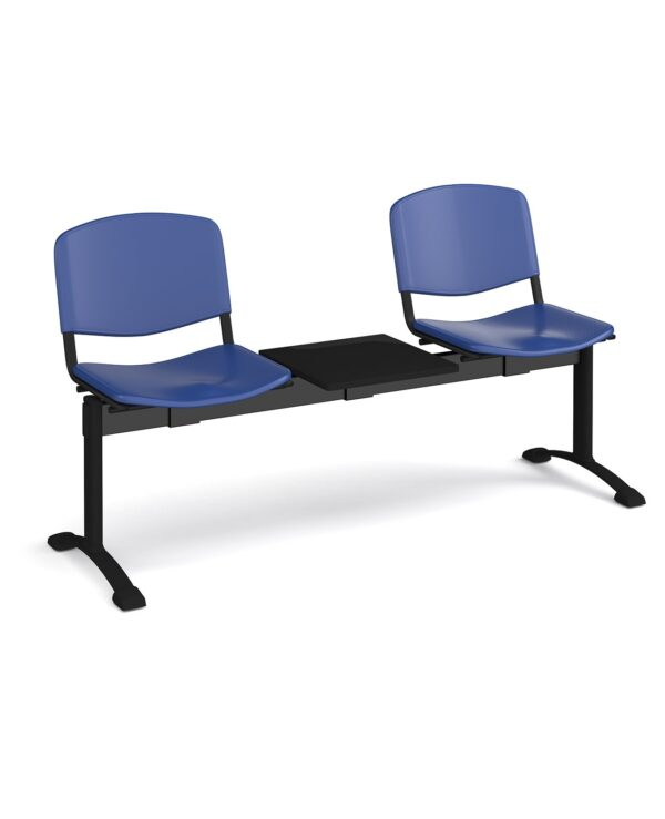 Taurus plastic seating - bench 3 wide with 2 seats and table - blue - Furniture