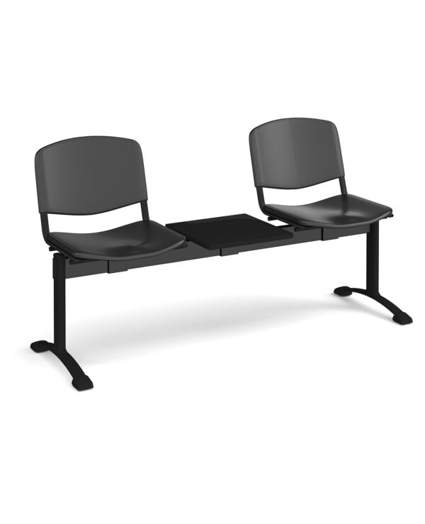 Taurus plastic seating - bench 3 wide with 2 seats and table - black - Furniture