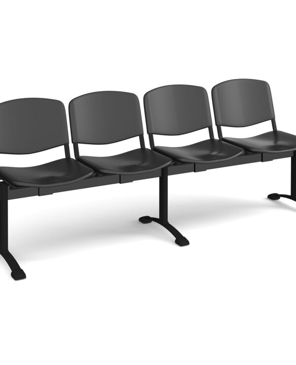 Taurus plastic seating - bench 4 wide with 4 seats - black - Furniture