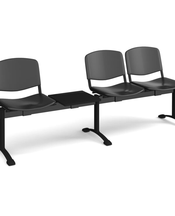 Taurus plastic seating - bench 4 wide with 3 seats and table - black - Furniture
