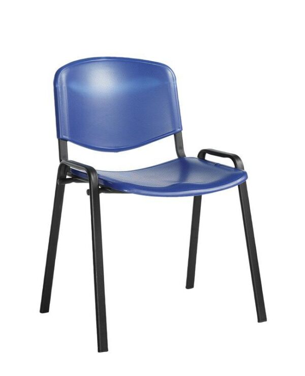 Taurus plastic meeting room stackable chair with no arms - blue with black frame - Furniture