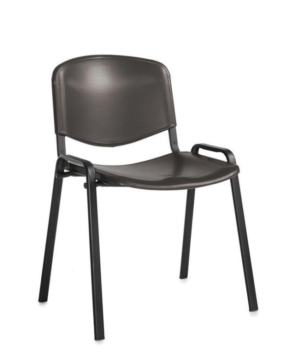 Taurus plastic meeting room stackable chair with no arms - black with black frame - Furniture