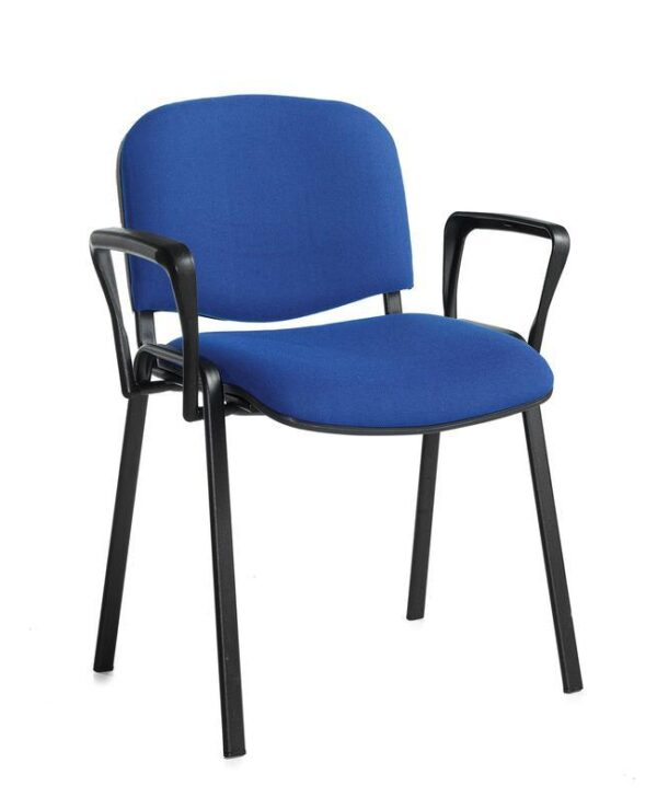 Taurus meeting room stackable chair with black frame and fixed arms - blue - Furniture