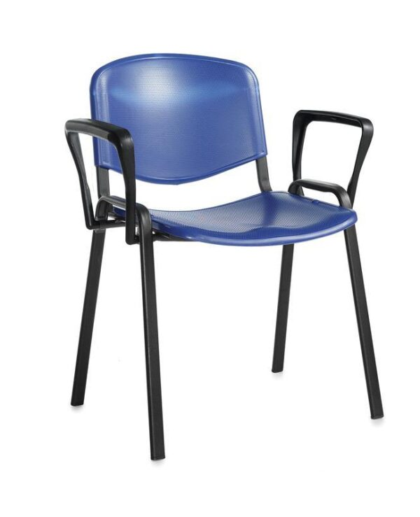 Taurus plastic meeting room stackable chair with fixed arms - blue with black frame - Furniture