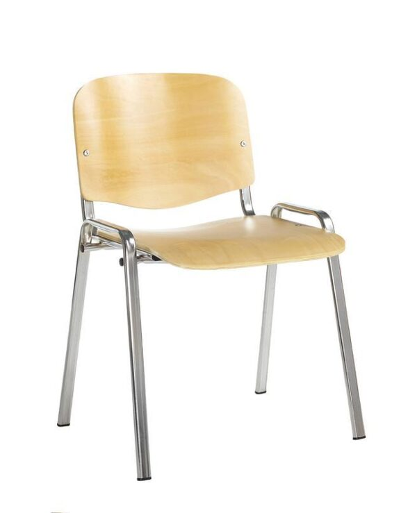 Taurus wooden meeting room stackable chair with no arms - beech with chrome frame - Furniture