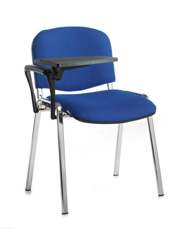 Taurus meeting room chair with black frame and writing tablet - blue - Furniture