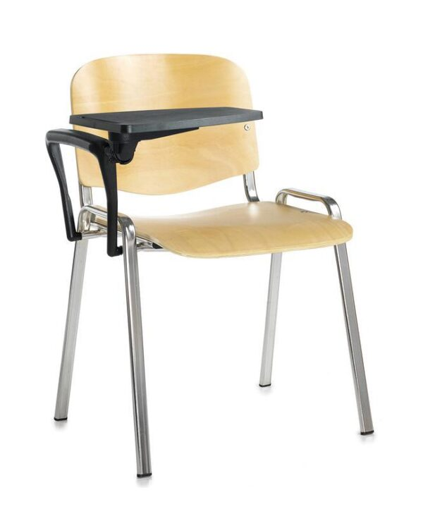 Taurus wooden meeting room chair with writing tablet - beech with chrome frame - Furniture