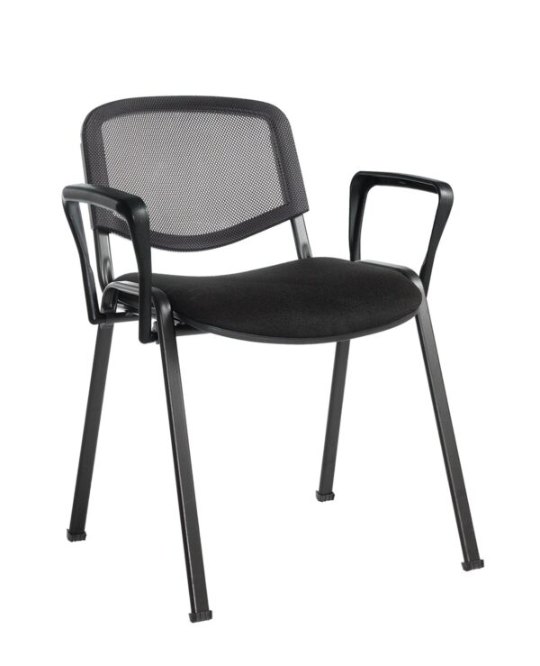 Taurus mesh back meeting room stackable chair with fixed arms - black - Furniture