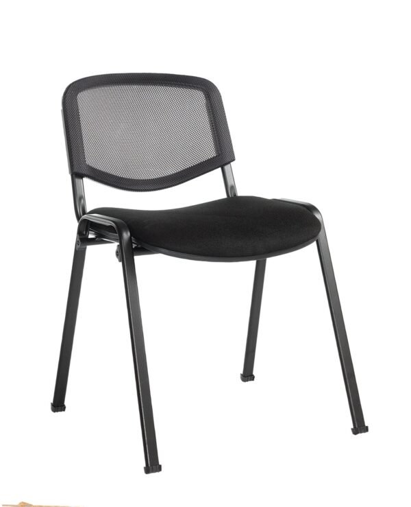 Taurus mesh back meeting room stackable chair with no arms - black - Furniture