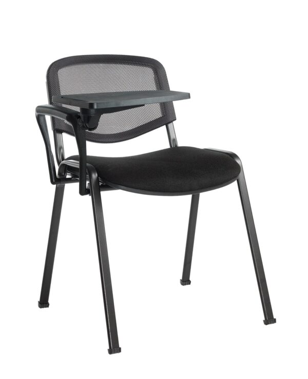 Taurus mesh back meeting room chair with writing tablet - black - Furniture