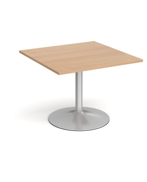 Trumpet base square extension table 1000mm x 1000mm - chrome base, beech top - Furniture