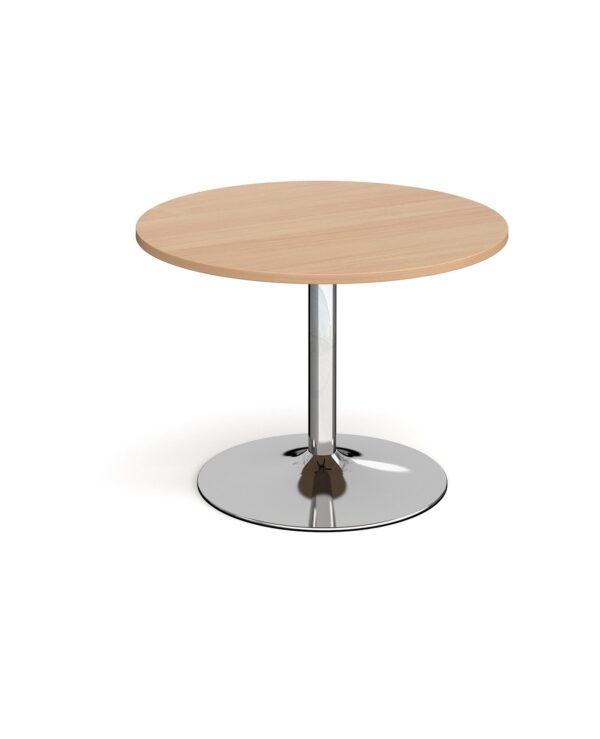 Trumpet base circular boardroom table 1000mm - chrome base, beech top - Furniture
