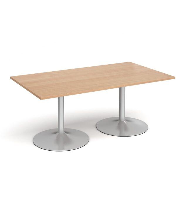 Trumpet base rectangular boardroom table 1800mm x 1000mm - chrome base, beech top - Furniture