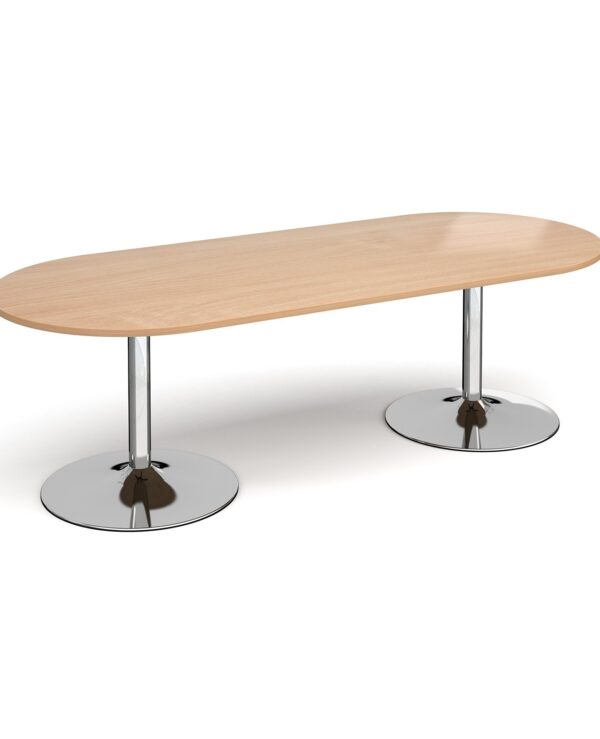 Trumpet base radial end boardroom table 2400mm x 1000mm - chrome base, beech top - Furniture