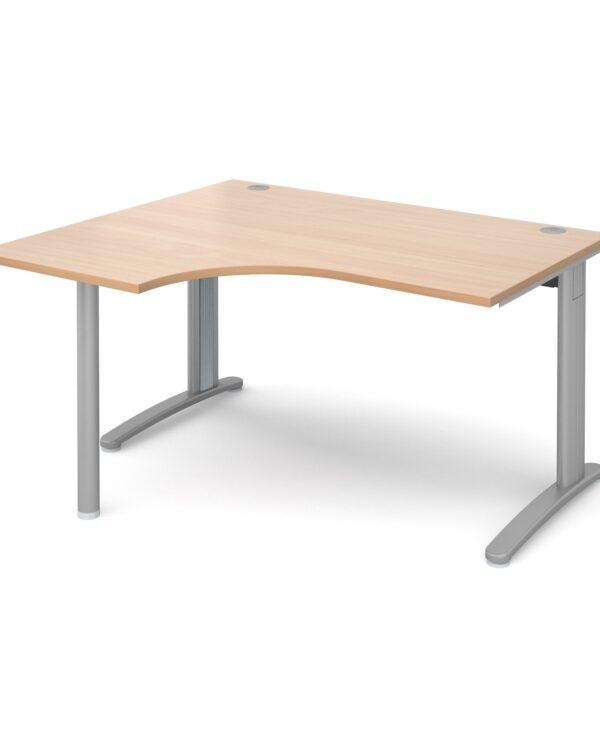 TR10 left hand ergonomic desk 1400mm - silver frame, beech top - Furniture