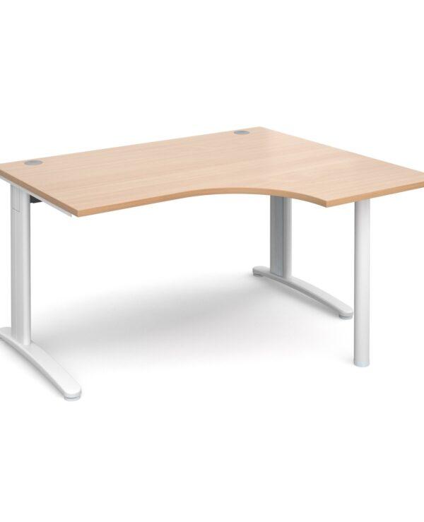 TR10 right hand ergonomic desk 1400mm - silver frame, beech top - Furniture