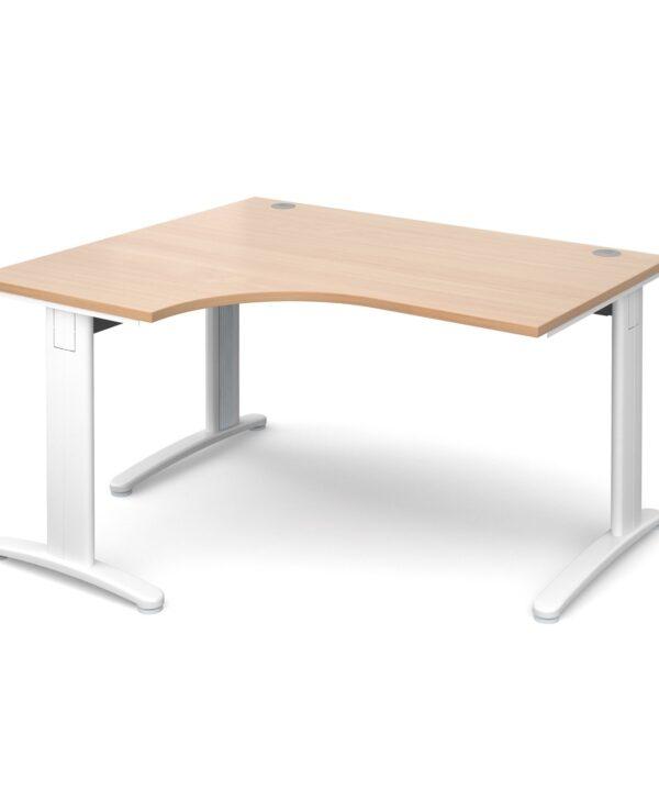TR10 deluxe left hand ergonomic desk 1400mm - silver frame, beech top - Furniture