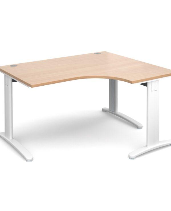 TR10 deluxe right hand ergonomic desk 1400mm - silver frame, beech top - Furniture