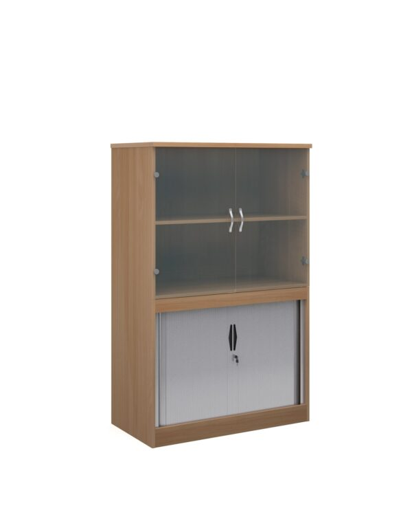 Systems combination unit with tambour doors and glass upper doors 1600mm high with 2 shelves - beech - Furniture