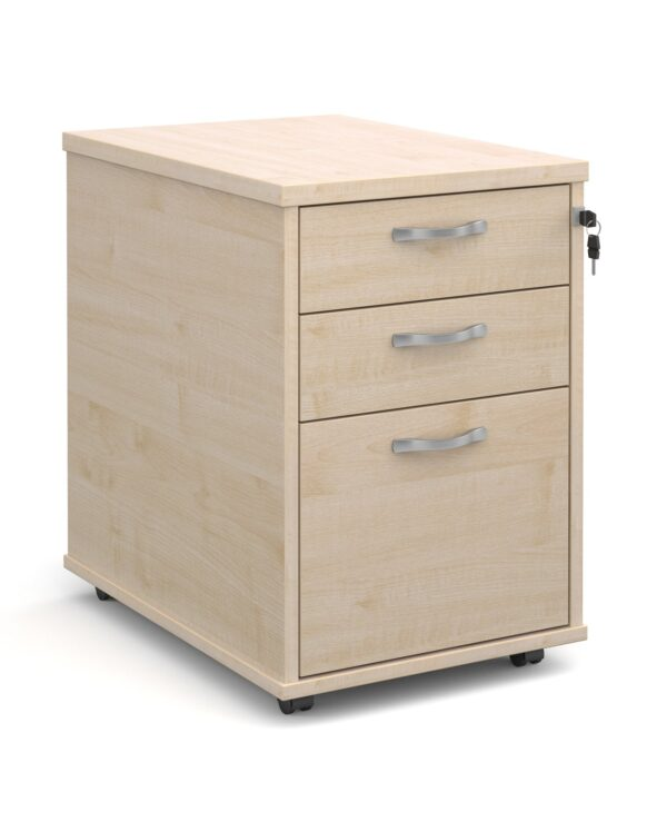 Tall mobile 3 drawer pedestal with silver handles 600mm deep - maple - Furniture