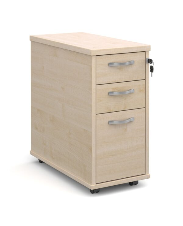 Tall slimline mobile 3 drawer pedestal with silver handles 600mm deep - maple - Furniture
