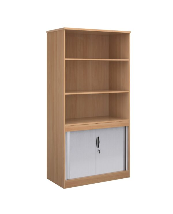 Systems combination unit with tambour doors and open top 1600mm high with 2 shelves - beech - Furniture