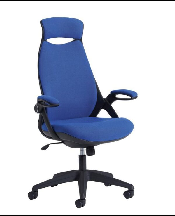 Tuscan high back fabric managers chair with head support - blue - Furniture