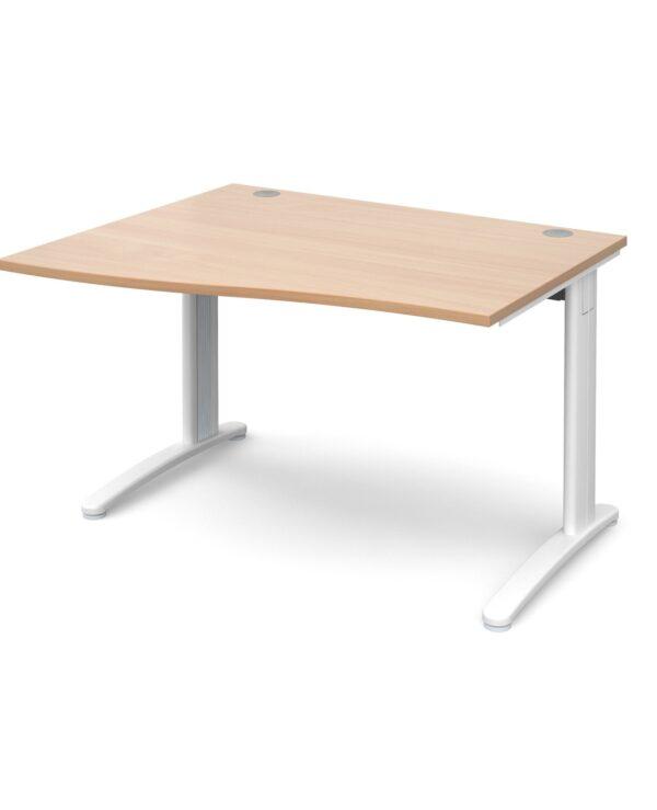 TR10 left hand wave desk 1200mm - silver frame, beech top - Furniture