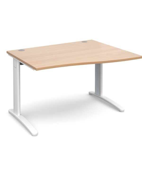 TR10 right hand wave desk 1200mm - silver frame, beech top - Furniture