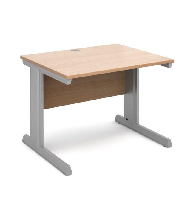 Vivo straight desk 1000mm x 800mm - silver frame, beech top - Furniture