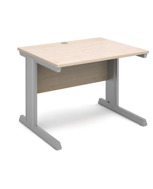 Vivo straight desk 1000mm x 800mm - silver frame, maple top - Furniture