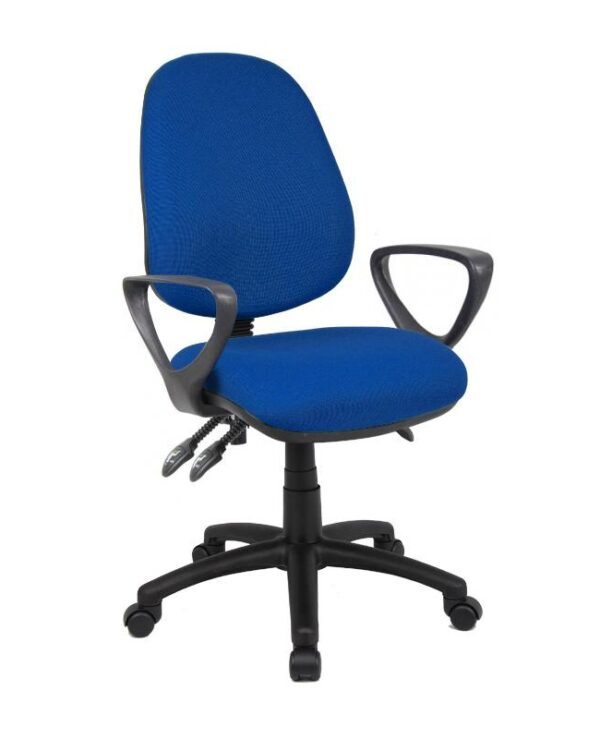 Vantage 200 3 lever asynchro operators chair with fixed arms - blue - Furniture