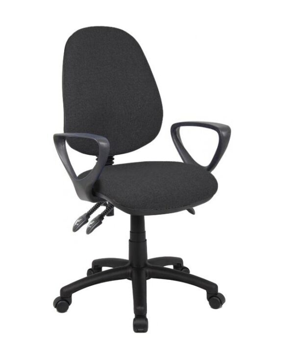 Vantage 200 3 lever asynchro operators chair with fixed arms - charcoal - Furniture