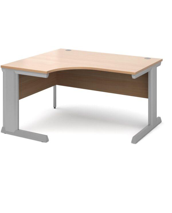 Vivo left hand ergonomic desk 1400mm - silver frame, beech top - Furniture