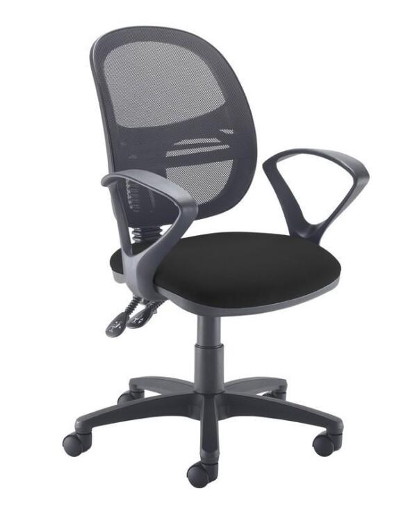 Jota Mesh medium back operators chair with fixed arms - black - Furniture