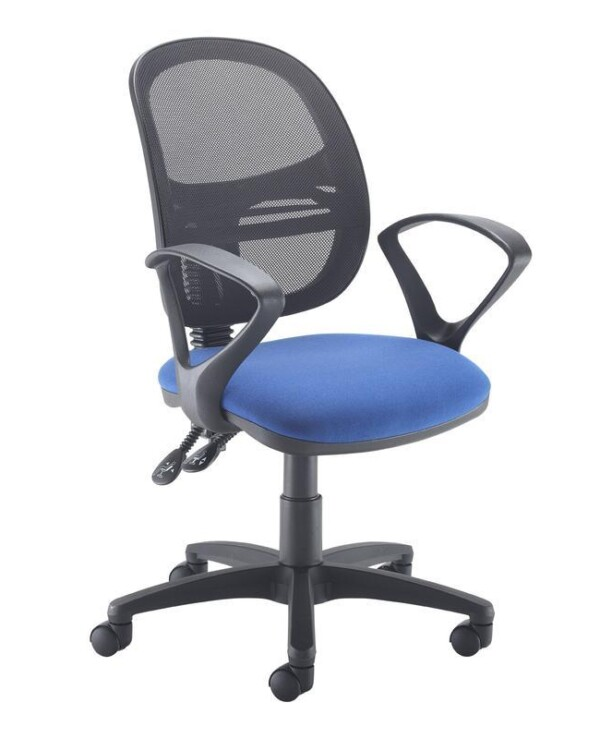 Jota Mesh medium back operators chair with fixed arms - blue - Furniture