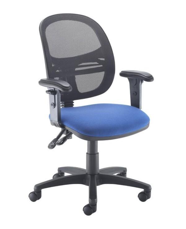 Jota Mesh medium back operators chair with adjustable arms - blue - Furniture