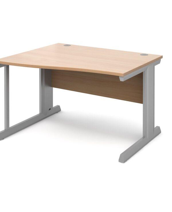 Vivo left hand wave desk 1200mm - silver frame, beech top - Furniture