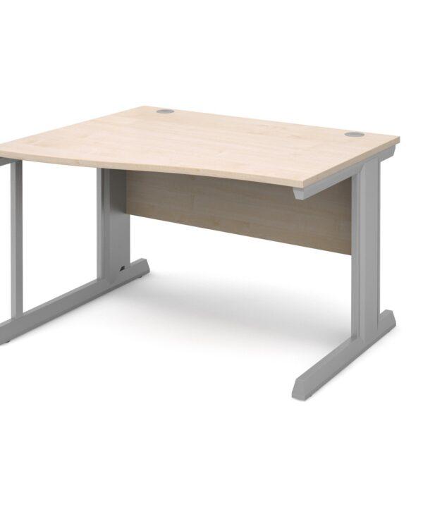 Vivo left hand wave desk 1200mm - silver frame, maple top - Furniture