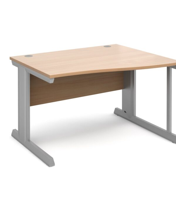 Vivo right hand wave desk 1200mm - silver frame, beech top - Furniture