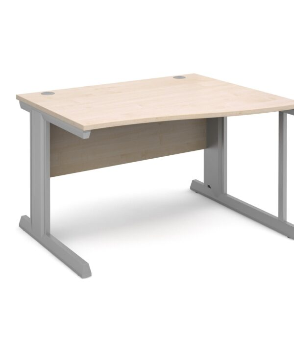 Vivo right hand wave desk 1200mm - silver frame, maple top - Furniture